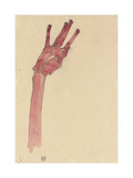 Raised Red Hand, 1910 Giclee Print by Egon Schiele