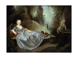 A Lady in a Garden, 18th Century Giclee Print by Nicolas Lancret
