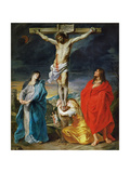 The Crucified Christ with the Virgin Mary, Saints John the Baptist and Mary Magdalene Giclée-tryk af Sir Anthony Van Dyck