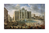 The Trevi Fountain in Rome (Pope Benidict XIV Visits the Trevi Fountain in Rom), 18th Century Giclee Print by Giovanni Paolo Panini