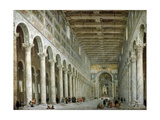 Interior of the Basilica of St Paul Outside the Walls in Rome, C1750 Giclee Print by Giovanni Paolo Panini
