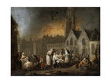 The Grand Square in Lille During the Siege of 1792 Giclee Print by François-Louis-Joseph Watteau