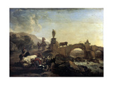 Italian Landscape with a Small Bridge, 1656 Giclee Print by Nicolaes Berchem