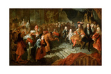 Louis XIV Receiving the Persian Ambassador in the Galerie Des Glaces at Versailles Giclee Print by Antoine Coypel
