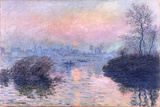 Sunset on the Seine at Lavacourt, Winter Effect Giclee Print by Claude Monet