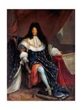 Portrait of Louis XIV Holding the Plan for the Maison Royale De Saint-Louis at Saint-Cyr Giclee Print by Nicolas-René Jollain