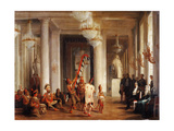 Dance by Iowa Indians in the Salon De La Paix at the Tuileries Giclee Print by Karl Girardet