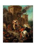 Rebecca Raped by a Knight Templar During the Sack of the Castle Frondeboeuf Reproduction procédé giclée par Eugène Delacroix