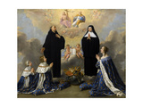 Anna of Austria with Her Children, Praying to the Holy Trinity with Saints Benedict and Scholastica Giclee Print by Philippe De Champaigne