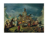 Scene in the Garden of a Serraglio Giclee Print by Giovanni Antonio Guardi