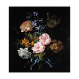 Bouquet of Poppy Anemones, Roses, Double Campernelle, Hyacinth, Tulip and Auricula Giclee Print