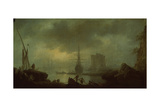 View of the Sea Mist Giclee Print by Claude Joseph Vernet