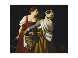 Judith and Her Maidservant with the Head of Holofernes Giclée-tryk af Orazio Gentileschi