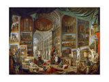 Picture Gallery with Views of Ancient Rome (Roma Antic) Giclee Print by Giovanni Paolo Panini