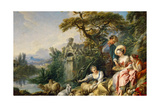 The Shepherd's Presents (The Nes) Giclee Print by François Boucher