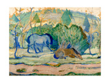 Horses at Pasture (Horses in a Landscap) Giclee Print by Franz Marc