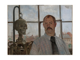 Selfportrait with Skeleton Giclee Print by Lovis Corinth