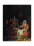 Interior with Two Women and a Man Drinking and Eating Oysters Giclee Print by Pieter de Hooch