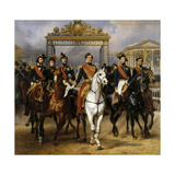 Louis Philippe and His Sons to Horse at This Leave Versailles of Lock, June 10, 1837 Giclee Print by Horace Vernet