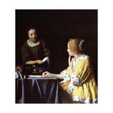 Jan Vermeer - Lady with Her Maidservant Holding a Letter Digitálně vytištěná reprodukce
