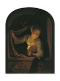Woman with a Lighted Candle at a Window Giclee Print by Gerard Dou
