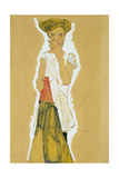 Standing Girl in White Petticoat Giclee Print by Egon Schiele