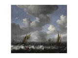 Seascape with Fishing Boats Giclee Print by Ludolf Bakhuizen