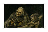 Two Old Men Eating Soup Giclee Print by Francisco de Goya