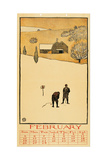 Golf Calendar. February Giclee Print by Edward Penfield