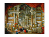 Picture Gallery with Views of Modern Rome (Modern Rom) Giclee Print by Giovanni Paolo Panini