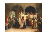 The Feast of the Rejoicing of the Torah at the Synagogue in Leghorn, Italy, 1850 Giclee Print by Solomon Alexander Hart