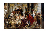 Christ Driving the Money Changers from the Temple Giclee-trykk av Jacob Jordaens