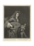 Portrait of the Lutenist and Composer Charles Mouton (C. 1626-171), Ca. 1695 Giclee Print by Gerard Edelinck