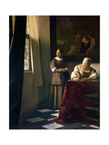 Lady Writing a Letter with Her Maid Giclee Print by Jan Vermeer