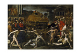 Funeral of a Roman Emperor (Cremation Ceremon) Giclée-tryk af Giovanni Lanfranco