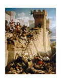Guillaume De Clermont Defending the Walls at the Siege of Acre, 1291 Giclee Print by Dominique Papety