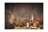 Master Jan Hus Preaching at the Bethlehem Chapel (The Cycle the Slav Epi) Giclee Print by Alphonse Mucha