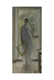 A Girl on the Doorstep Giclee Print by Konstantin Alexeyevich Korovin