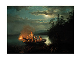 Night Spear Fishing on the Kroderen Lake Giclee Print by Hans Gude