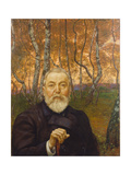 Self-Portrait in a Birch Grove Giclee Print by Hans Thoma