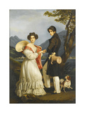 Duke Maximilian Joseph in Bavaria and Ludovika of Bavaria at Schloss Tegernsee Giclee Print by Joseph Karl Stieler