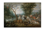 Paradise Landscape with Animals Giclee Print by Jan Brueghel the Younger
