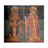 Exaltation of the Cross. Saints Constantine the Great and Helena, Ca 1350 Giclee Print
