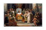 Charlemagne Receives Alcuin, 780 Giclee Print by Jean-Victor Schnetz