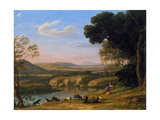 River Landscape with Goatherd Giclee Print by Claude Lorrain