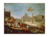 Piazza San Pietro, Rome with an Allegory of the Triumph of the Papacy Giclee Print
