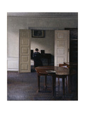 Interior with Ida Playing the Piano Giclee Print by Vilhelm Hammershoi