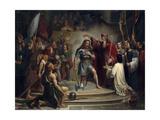 Baptism of Clovis at Reims, 25 December 496 Giclée-tryk af François-Louis Dejuinne