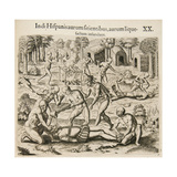 Because the Spanish Thirst for Gold, the Indians Pour Liquid Gold into Them Lámina giclée por Theodor de Bry
