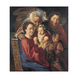 The Holy Family with an Angel Giclee-trykk av Jacob Jordaens